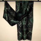 Thai Silk Fabric Scarf Green and Black Tie Dye New 15#5