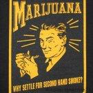 MARIJUANA Old School SECOND HAND SMOKE Roots Rasta REGGAE Dub Spliff Blunt T-shirt XXL 2XL Black