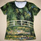 Monet WATER LILY POND Short Sleeve Art Print T-shirt Misses S Small