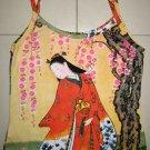 Red Kimono Under Sakura Japan Art Print Shirt Singlet TANK TOP Misses S Small