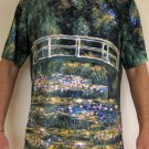 Monet WATER LILY POND Hand Print Fine Art T Shirt Mens L Large Short Sleeve
