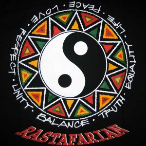 RASTAFARIAN YING YANG Rasta REGGAE T-shirt XXL Black