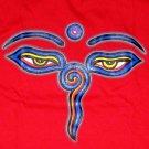 BUDDHA EYES REGGAE Tibetan Namaste T-Shirt L Red