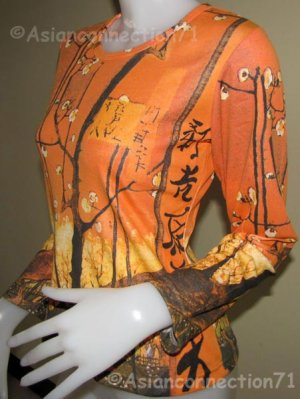 PLUM TREES In Bloom Vincent Van Gogh Long Sleeve Fine Art T Shirt Misses M Medium