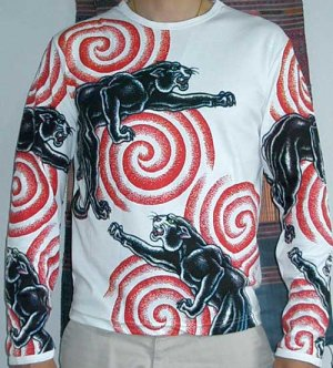 PANTHER IREZUMI Long Sleeve Japan Yakuza Biker Tattoo T Shirt L Large