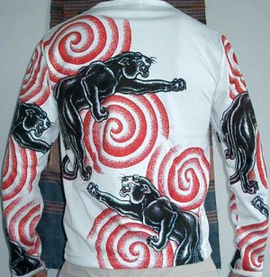 PANTHER IREZUMI Long Sleeve Japan Yakuza Biker Tattoo T Shirt M Medium