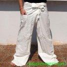 Thai EXTRA LONG Cotton Fisherman Yoga Pants Natural White
