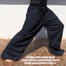Thai Fisherman Pants Yoga Beach Dance Trousers EXTRA LONG Cotton Dark Blue Stripe