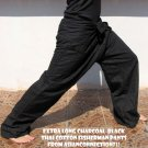 Thai EXTRA LONG Fisherman Pants Yoga Trousers Striped Cotton Drill Charcoal Black