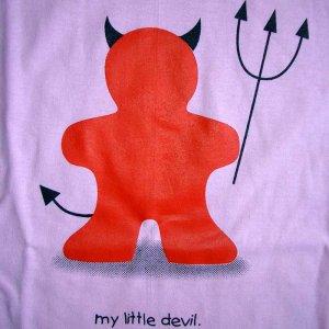 MY LITTLE DEVIL Fun Cute T-Shirt L Large Pink Clearance Sale