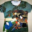 Hayabusa Samurai Japan Hand Print Ukiyoe Art T Shirt Misses M