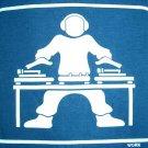 GLOW IN THE DARK DJ Turntable Disco Party Rave T-Shirt XL Dark Blue