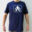 GLOW IN THE DARK DJ Work Turntable Party T-Shirt L Dark Blue
