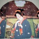 GEISHA with TEA LONG SLEEVE Japan Ukiyoe Art Print T Shirt Misses S