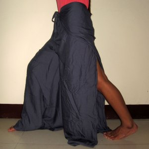 Thai FREESIZE Silky Rayon Wrap Yoga Pants DARK GRAY Asian Dance Beach Party Trousers