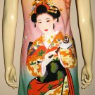 Geisha with Sensu Japan Art Print Dress L Large Misses Size 12-14