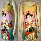 Geisha with Sensu Japan Art Print Dress XL Extra Large Misses Size 16-18