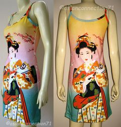 Geisha with Sensu Japan Art Print Dress XL Extra Large Misses Size 16-18