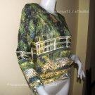 Monet WATER LILY POND Hand Print Long Sleeve Art T shirt Misses M Medium