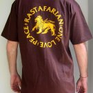 RASTAFARIAN Peace One Love Roots REGGAE Dub Irie T-shirt L Large Brown