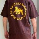 RASTAFARIAN Peace One Love Roots REGGAE Dub Irie T-shirt L Large Brown