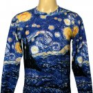 STARRY NIGHT Vincent VAN GOGH Fine Art Print T Shirt MENS Long Sleeve Size L Large