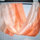 Thai Silk Fabric Scarf Shawl Variegated Mandarin Orange 2-12