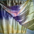 Thai Large Silk Fabric Scarf Shawl Variegated Yellow Purple Lavender Gold
