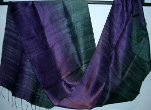 Thai Silk Fabric Scarf Shawl Half and Half Purple and Indigo Black 1-3