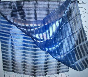 Thai Mixed Weave Large Silk Fabric Scarf Shawl Variegated Blues 1-3