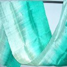 Thai Silk Fabric Scarf Shawl Half and Half Pale Mint and Green Turquoise Aqua Marine New! 2-16