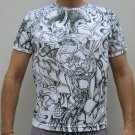 RAIJIN Japanese THUNDER GOD Charcoal Irezumi Tattoo T-Shirt Short Sleeve Size M