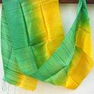 Thai Silk Fabric Scarf Shawl Half and Half Yellow and Green Reggae Colors