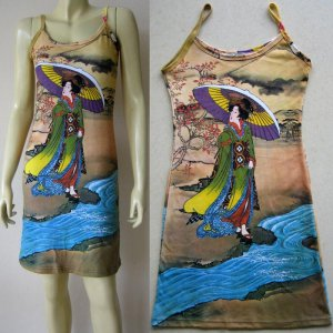 UTAMARO Geisha UKIYOE Japanese Art Print Dress Misses Size L 12-14