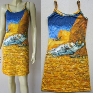 Van Gogh LA SIESTE Hand Print Art Dress Misses Size L Large 12-14