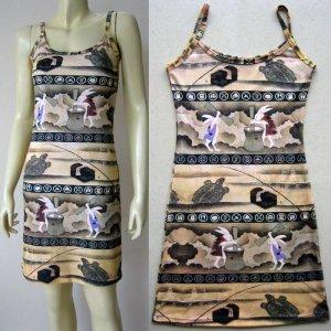 USAGI FOLKLORE Japanese UKIYOE Art Print Dress Misses L 12-14