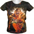 NARASIMHA VISHNU Hindu Art Print T Shirt Misses Size L Short Sleeve
