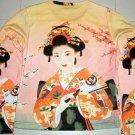 Geisha with Sensu Japan Ukiyoe Art Print LONG SLEEVE T Shirt Misses Size M