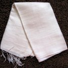 Thai Hand Craft Raw Silk Fabric Scarf Shawl Natural Cream White LARGE