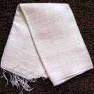Thai Hand Craft Raw Silk Fabric Scarf Shawl Natural Cream White LARGE