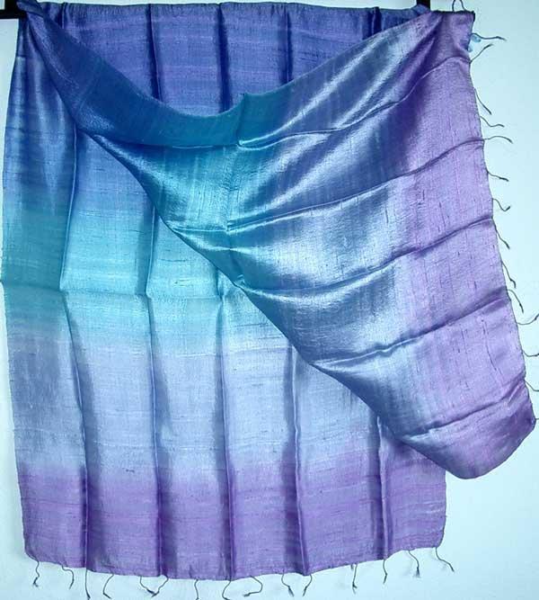 Thai LARGE Hand Crafted Raw Silk Fabric Scarf Shawl Violet Lavender Blue