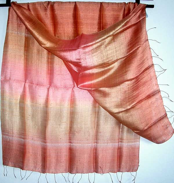Thai LARGE New Hand Crafted Raw Silk Fabric Scarf Shawl Variegated Golden Earth Tones