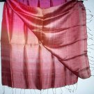 Thai Silk Fabric Scarf Large Shawl Variegated Bronze Pink Mauve Multicolor 1106