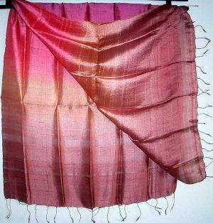Thai Silk Fabric Scarf Large Shawl Variegated Bronze Pink Mauve Multicolor 1106