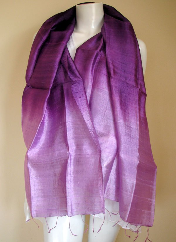 Thai Silk Fabric Scarf Shawl Hand Crafted Multicolor PURPLES and ROSE-PINK 6-14