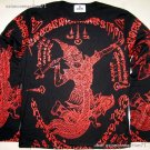 Thai RAMASOON THUNDER GOD New Long Sleeve Yaan Tattoo T Shirt XL Red on Black