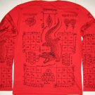 Thai JORAKE New Long Sleeve Crocodile Tattoo Black Magic Biker T Shirt L Black on Red