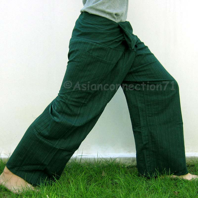 Yoga Trousers Thai Fisherman Pants Cotton Drill FREESIZE DARK GREEN Stripe Beach Dance Maternity