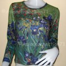 IRISES Van Gogh Long Sleeve Fine Art Print T Shirt Misses Size L