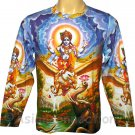 VISHNU GARUDA Gajendra Hindu Long Sleeve Fine Art Print T Shirt MENS M Medium